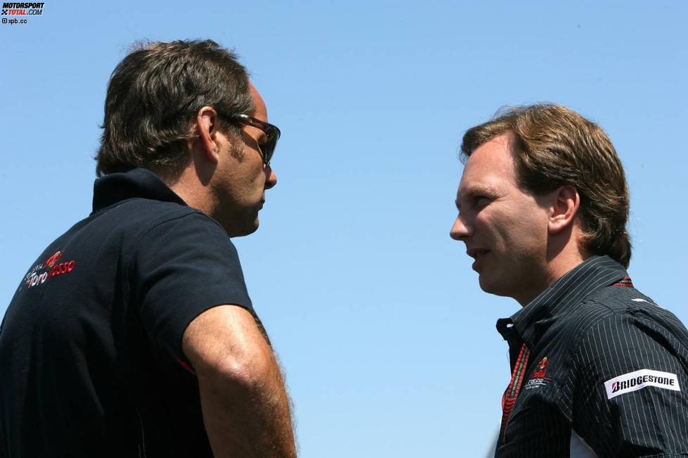 Gerhard Berger (Teamanteilseigner) (Toro Rosso) und Christian Horner (Teamchef) (Red Bull)