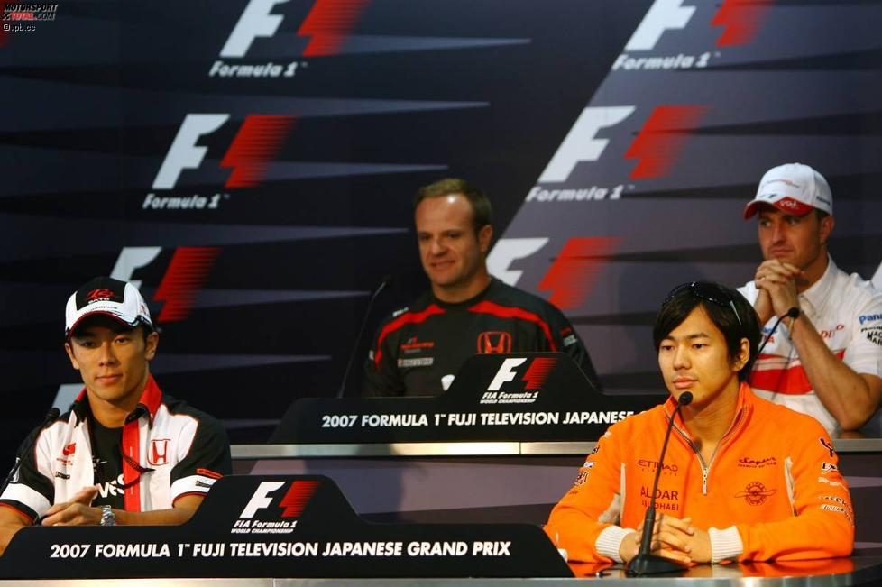 Oben: Rubens Barrichello (Honda F1 Team) und Ralf Schumacher (Toyota); unten: Takuma Sato (Super Aguri) und Sakon Yamamoto (Spyker)