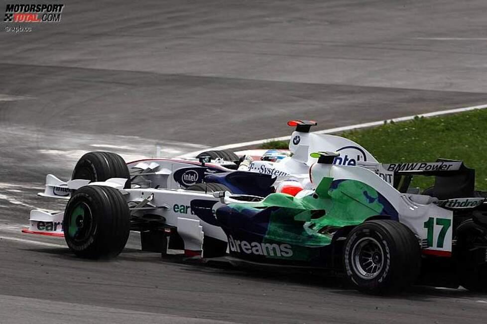 Nick Heidfeld (BMW Sauber F1 Team) und Rubens Barrichello (Honda F1 Team)