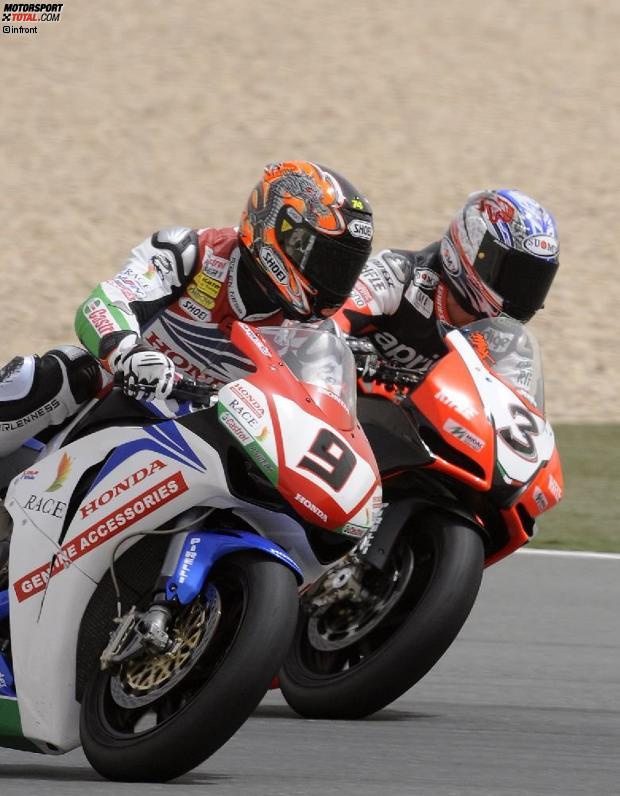 Ryuichi Kiyonari (Honda) und Max Biaggi (Aprilia)