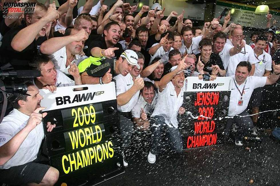 Jenson Button Rubens Barrichello Ross Brawn (Teamchef) (Brawn)