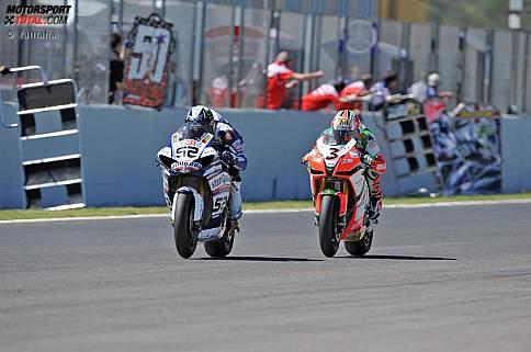 James Toseland (Yamaha) und Max Biaggi (Aprilia)
