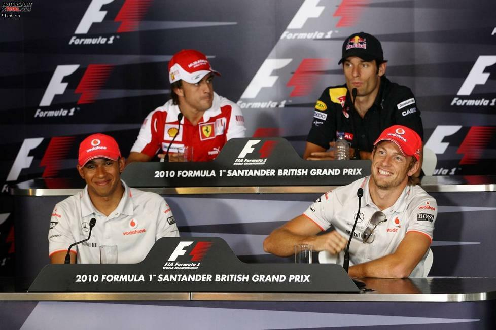 Oben: Fernando Alonso (Ferrari) und  Mark Webber (Red Bull); unten: Lewis Hamilton (McLaren) und enson Button (McLaren)