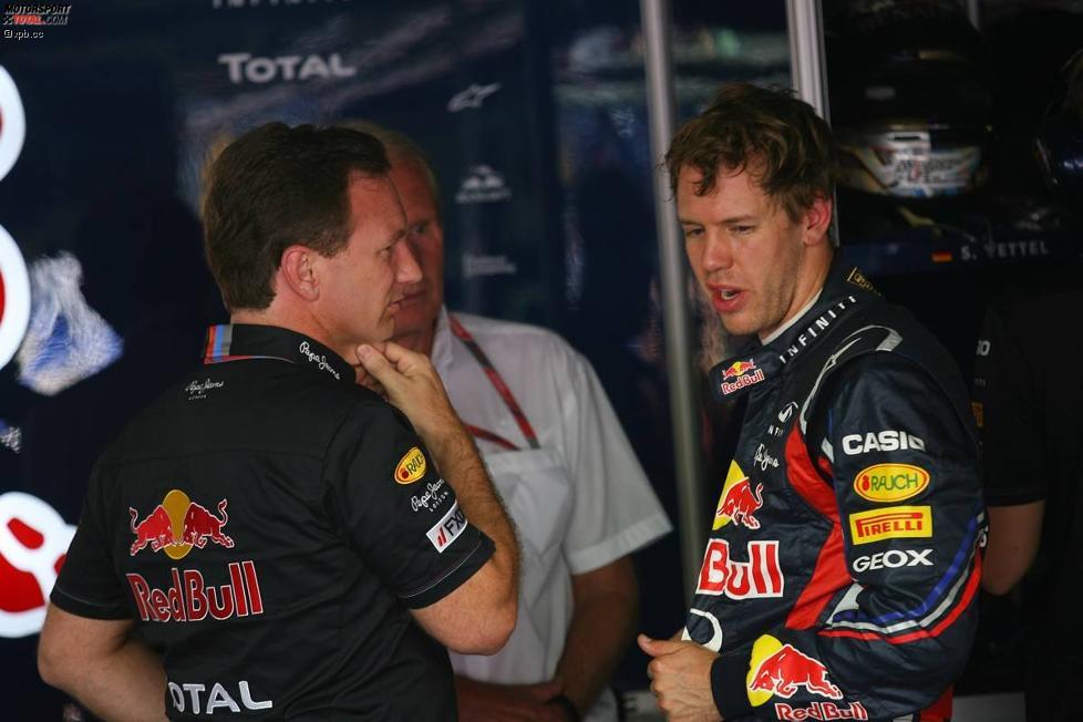 Christian Horner (Teamchef) Sebastian Vettel (Red Bull)