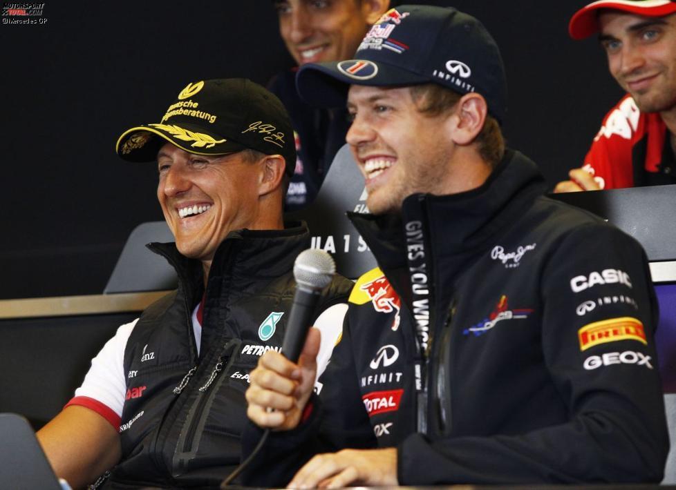 Michael Schumacher (Mercedes) und Sebastian Vettel (Red Bull)