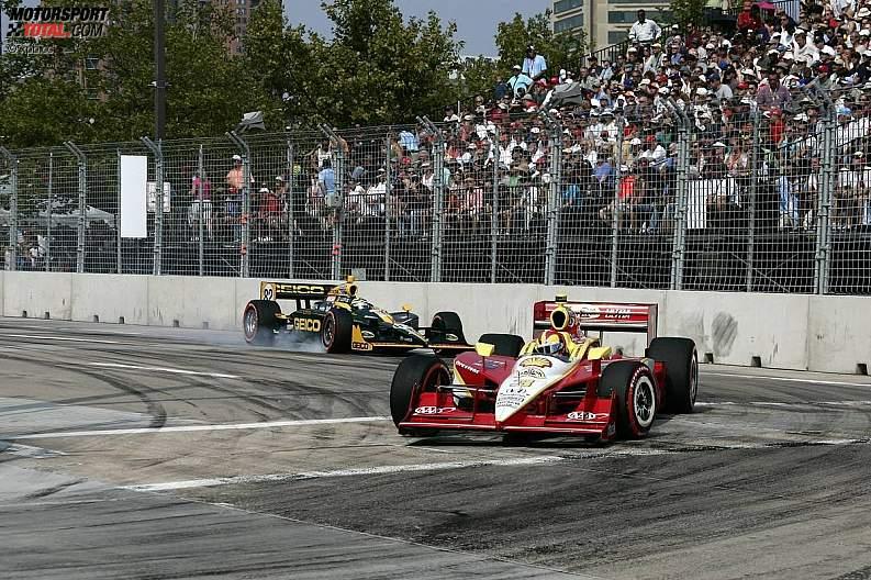 Helio Castroneves (Penske) und Tony Kanaan (KV/Lotus) hatten im Warmup eine spektakuläre Kollision