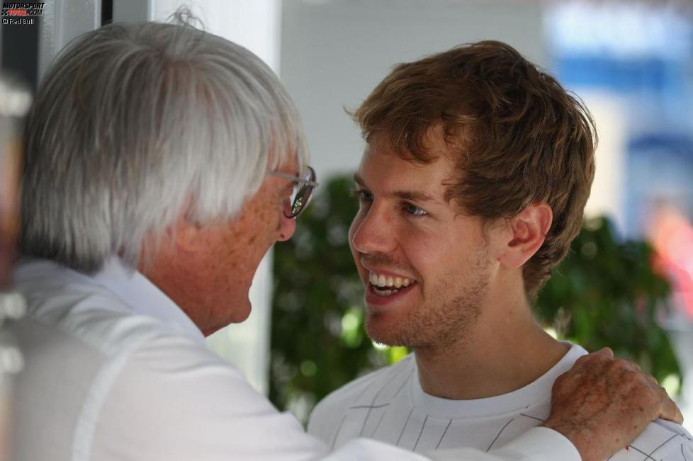 Bernie Ecclestone und Sebastian Vettel (Red Bull)