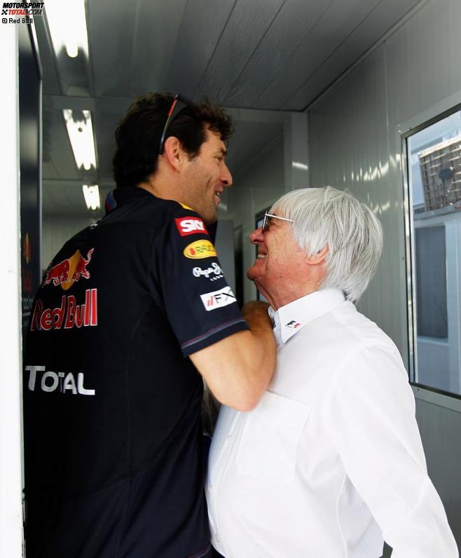 Mark Webber (Red Bull) und Bernie Ecclestone