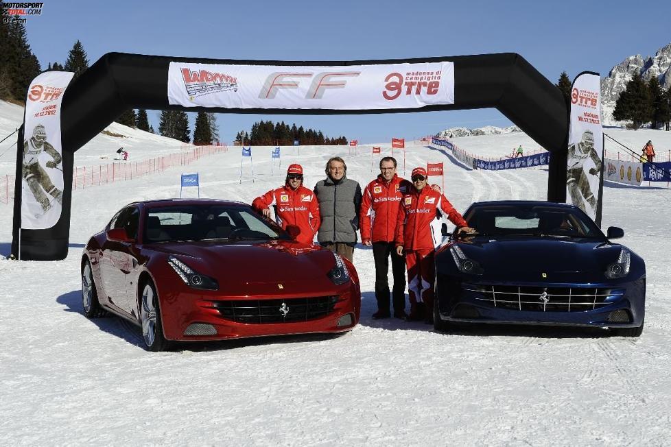Fernando Alonso, Luca di Montezemolo (Präsident), Stefano Domenicali (Teamchef) und Felipe Massa