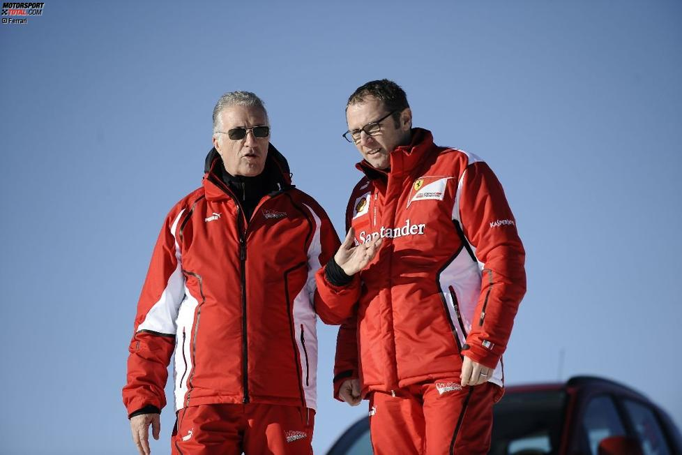 Piero Ferrari und Stefano Domenicali (Teamchef)
