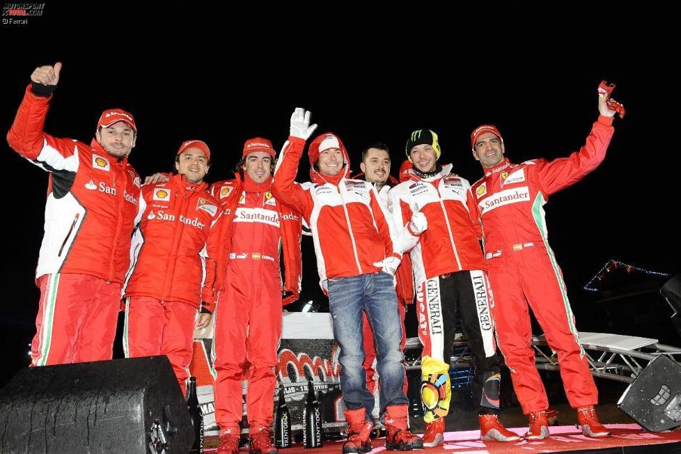 Giancarlo Fisichella, Felipe Massa, Fernando Alonso, Nicky Hayden, Valentino Rossi und Marc Gene