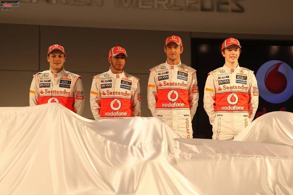 Gary Paffett, Lewis Hamilton, Jenson Button und Oliver Turvey (McLaren)