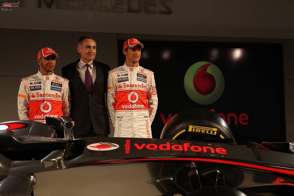 Lewis Hamilton, Martin Whitmarsh (Teamchef) und Jenson Button (McLaren)
