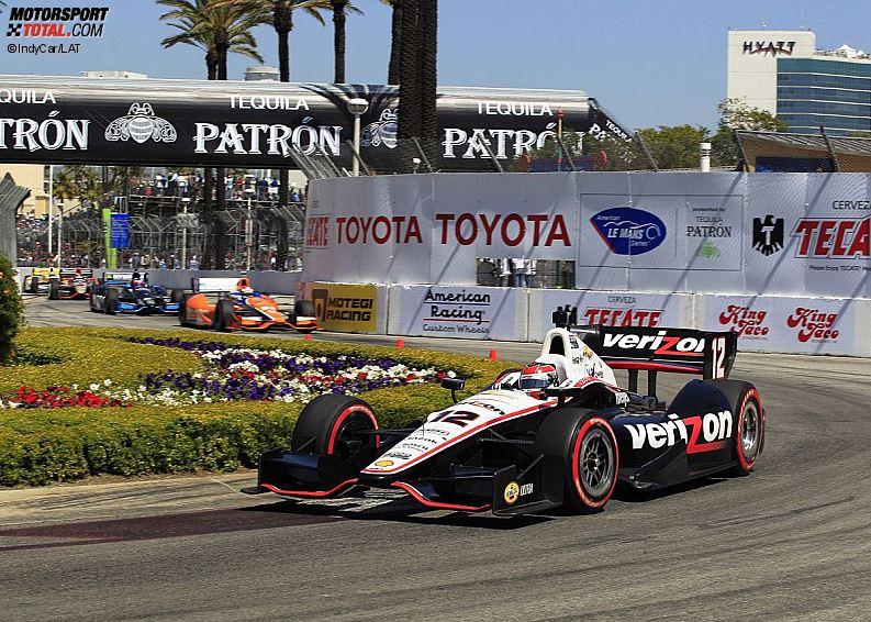 Will Power (Penske) vor Charlie Kimball (Ganassi) und Rubens Barrichello (KV)