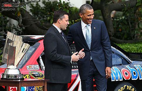 Tony Stewart (Stewart/Haas) mit US-Präsident Barack Obama