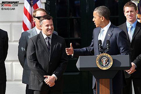 US-Präsident Barack Obama ehrt NASCAR-Champion Tony Stewart (Stewart/Haas)