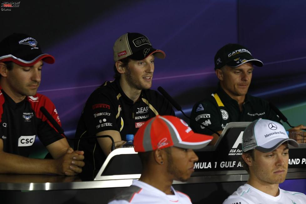 Romain Grosjean (Lotus) in der FIA-Pressekonferenz