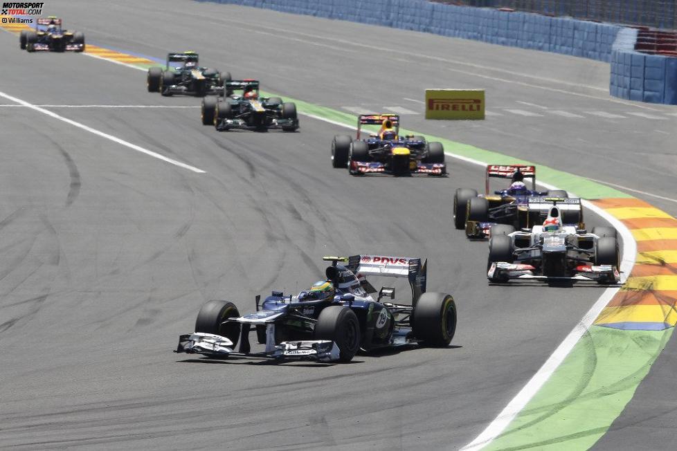 Bruno Senna (Williams), Sergio Perez (Sauber), Daniel Ricciardo (Toro Rosso) und Mark Webber (Red Bull)