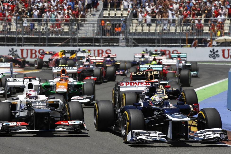 Pastor Maldonado (Williams), Kamui Kobayashi (Sauber) und Nico Hülkenberg (Force India)