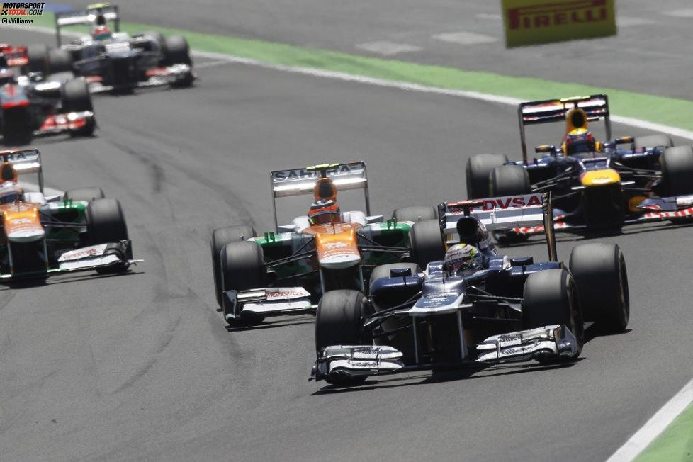 Pastor Maldonado (Williams), Nico Hülkenberg (Force India) und Mark Webber (Red Bull)