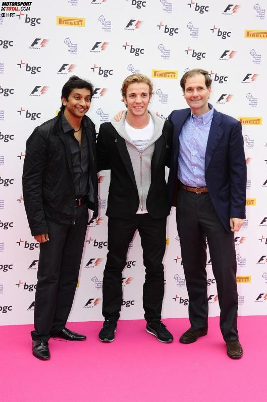 Narain Karthikeyan (HRT), Dani Clos (HRT) und Luis Perez-Sala (HRT-Teamchef) vor der Formel-1-Party von Tamara Ecclestone