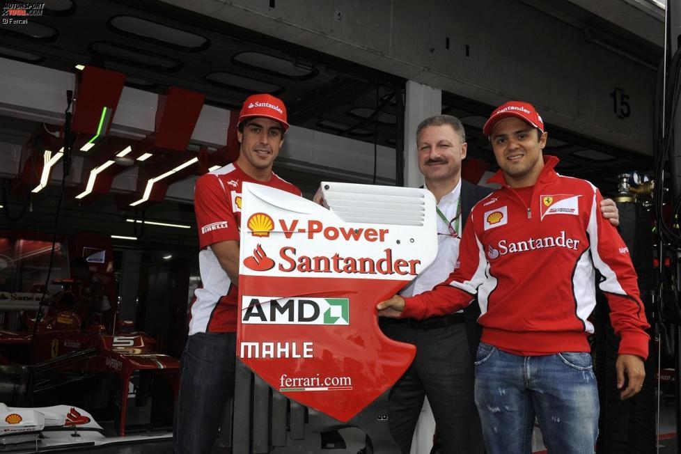 Fernando Alonso (Ferrari), Fred Türk (Mahle) und Felipe Massa (Ferrari)