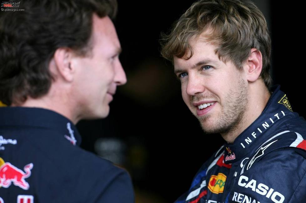 Christian Horner (Red-Bull-Teamchef) und Sebastian Vettel (Red Bull)