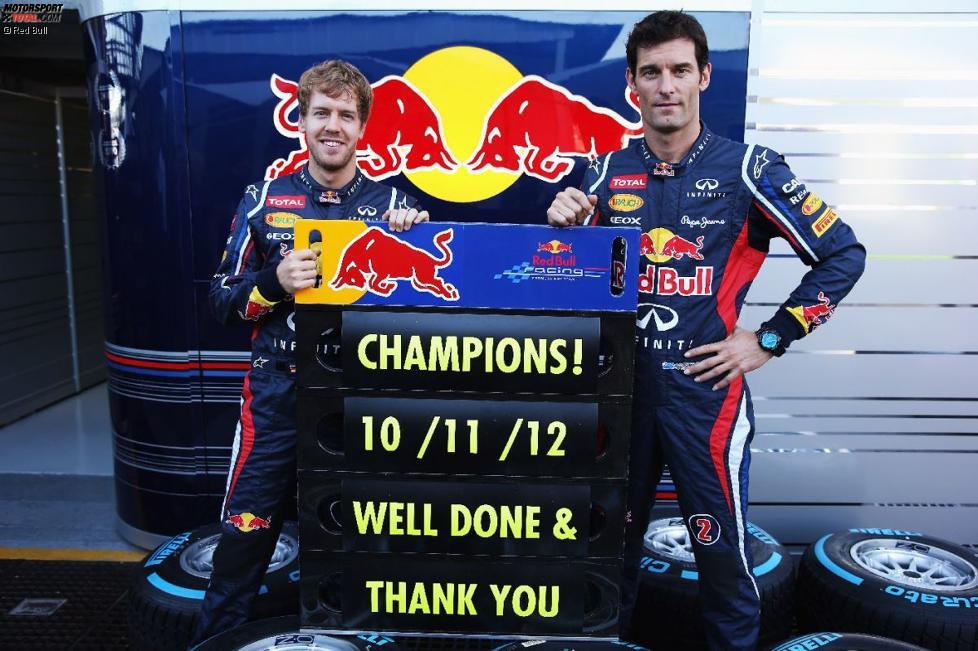Konstrukteurs-Weltmeister: Sebastian Vettel (Red Bull) und Mark Webber (Red Bull)