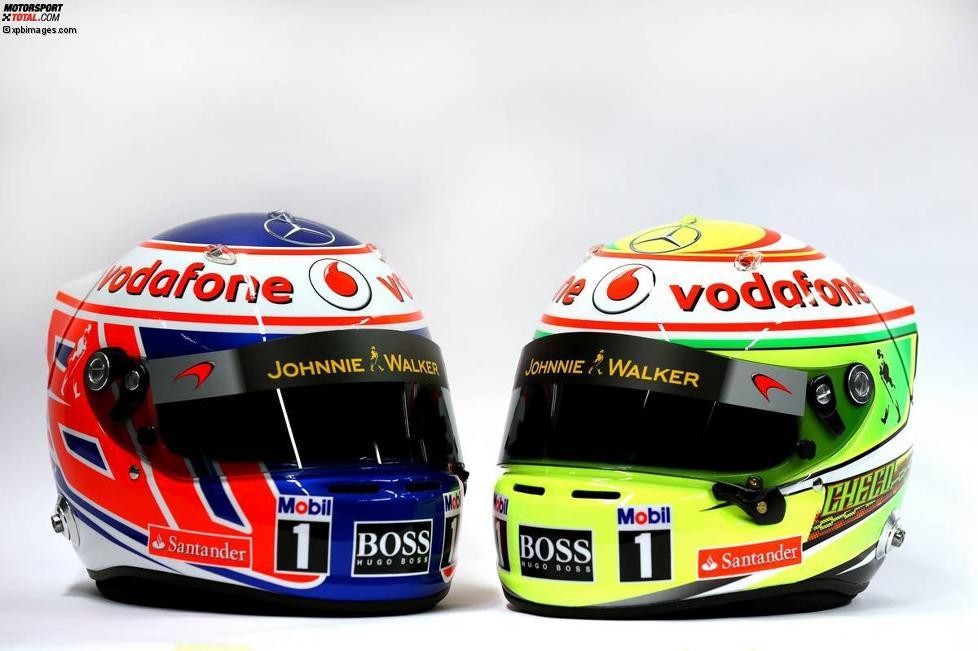 Helme von Jenson Button (McLaren) und Sergio Perez (McLaren)