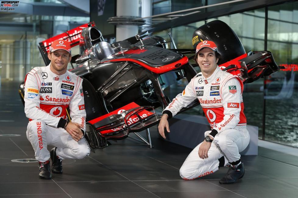 Jenson Button (McLaren) und Sergio Perez (McLaren)