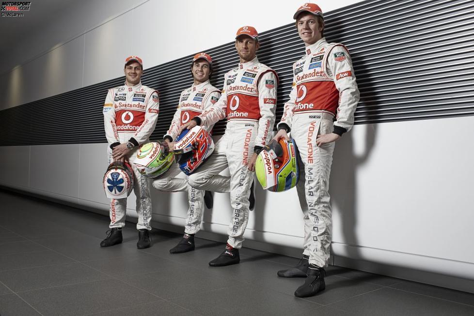 Gary Paffett, Sergio Perez, Jenson Button und Oliver Turvey (McLaren)