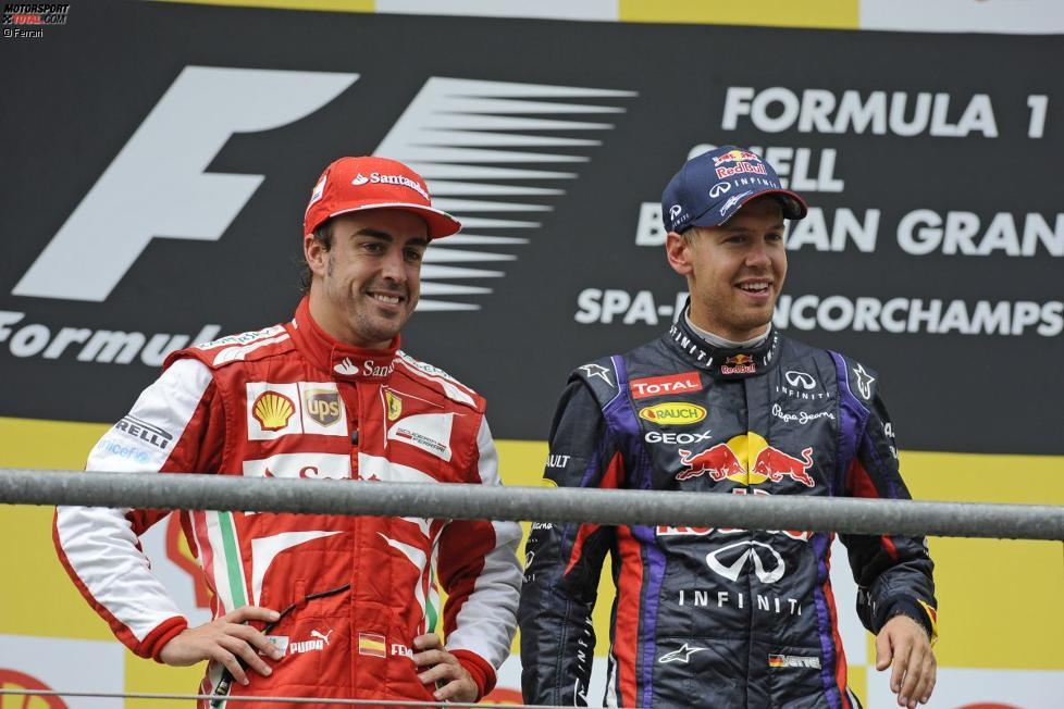 Fernando Alonso (Ferrari) und Sebastian Vettel (Red Bull)