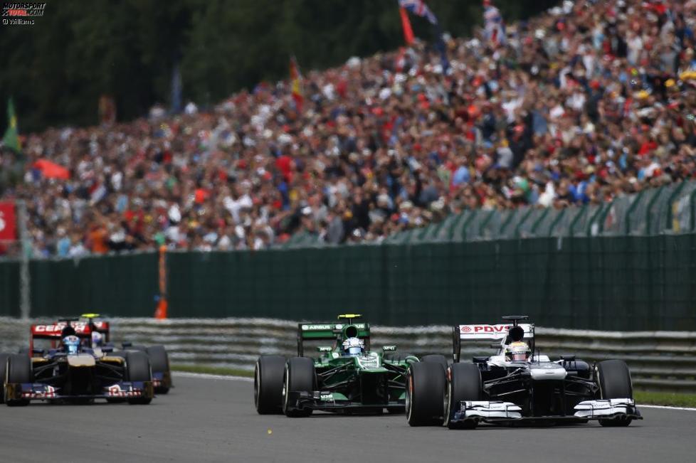 Pastor Maldonado (Williams), Giedo van der Garde (Caterham) und Jean-Eric Vergne (Toro Rosso)