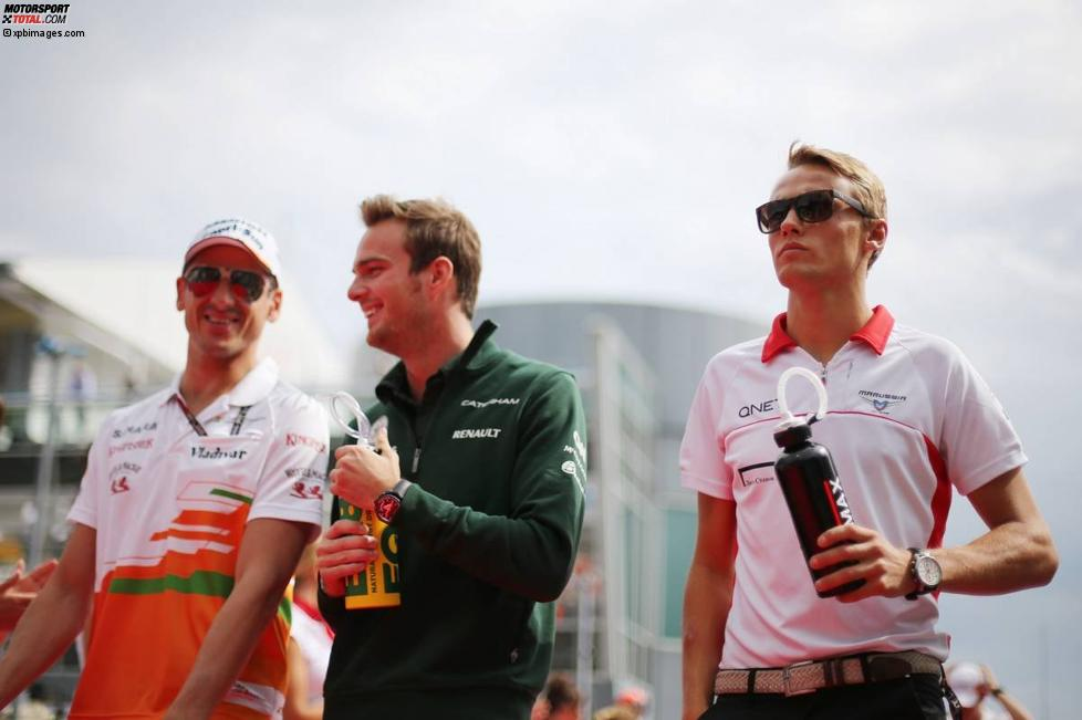 Adrian Sutil (Force India), Giedo van der Garde (Caterham) und Max Chilton (Marussia)