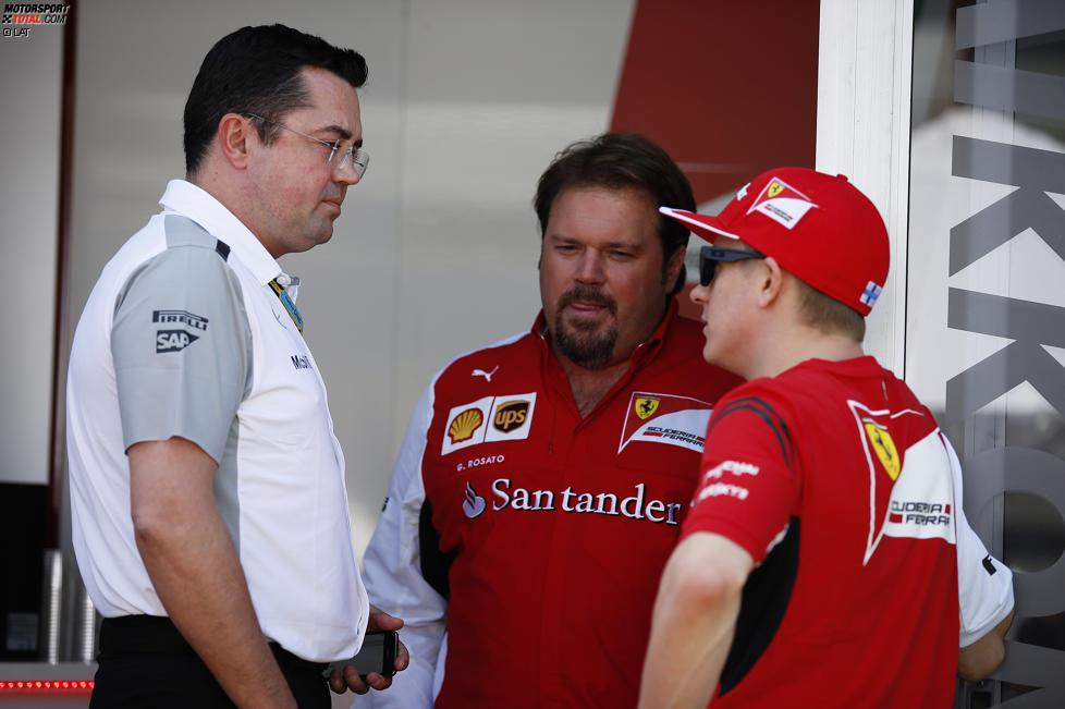 Eric Boullier und Kimi Räikkönen (Ferrari)