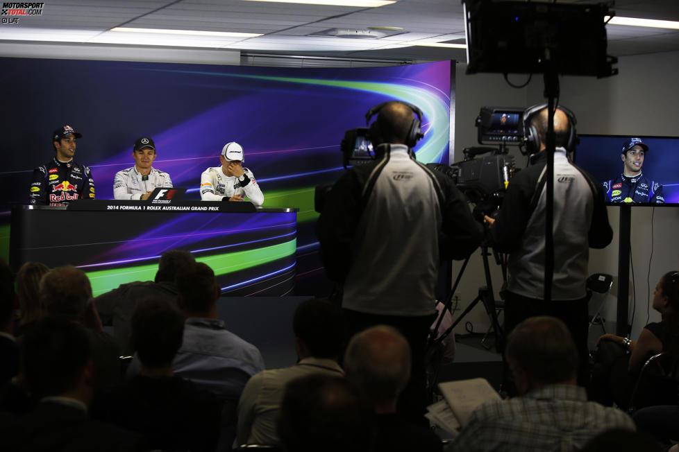 Nico Rosberg (Mercedes), Daniel Ricciardo (Red Bull) und Kevin Magnussen (McLaren)