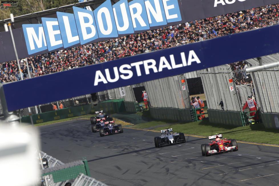Kimi Räikkönen (Ferrari), Valtteri Bottas (Williams) und Jean-Eric Vergne (Toro Rosso)