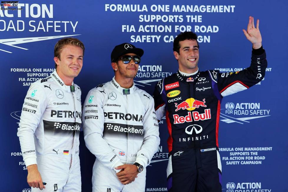 Nico Rosberg (Mercedes), Lewis Hamilton (Mercedes) und Daniel Ricciardo (Red Bull)