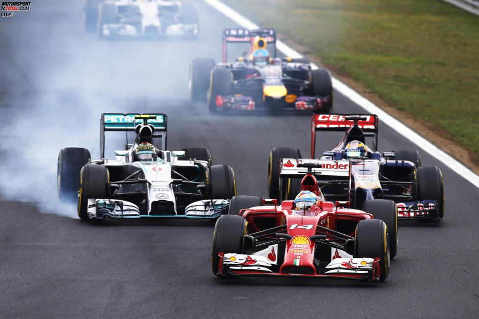 Fernando Alonso (Ferrari), Nico Rosberg (Mercedes) und Jean-Eric Vergne (Toro Rosso)
