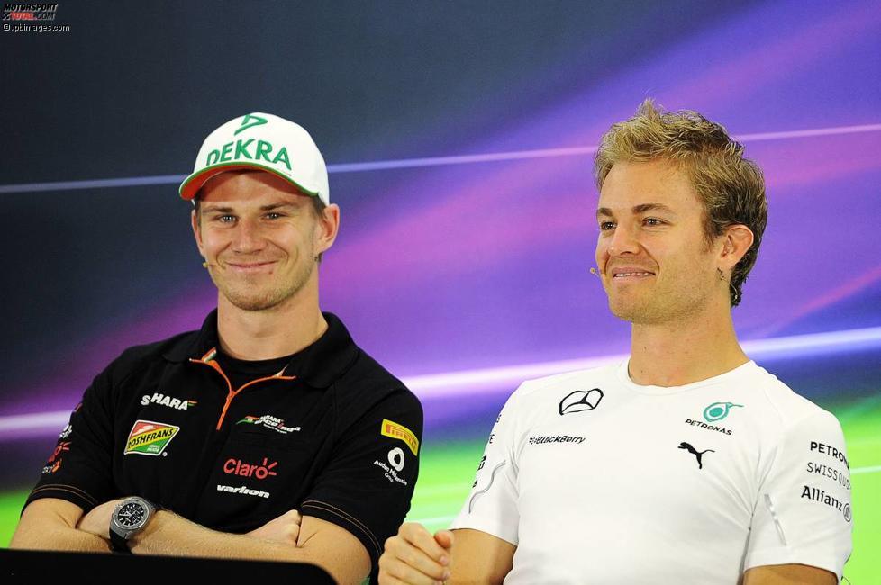 Nico Hülkenberg (Force India) und Nico Rosberg (Mercedes)