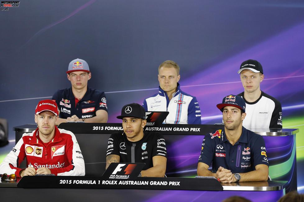 Max Verstappen (Toro Rosso), Valtteri Bottas (Williams), Kevin Magnussen, Daniel Ricciardo (Red Bull), Lewis Hamilton (Mercedes) und Sebastian Vettel (Ferrari)