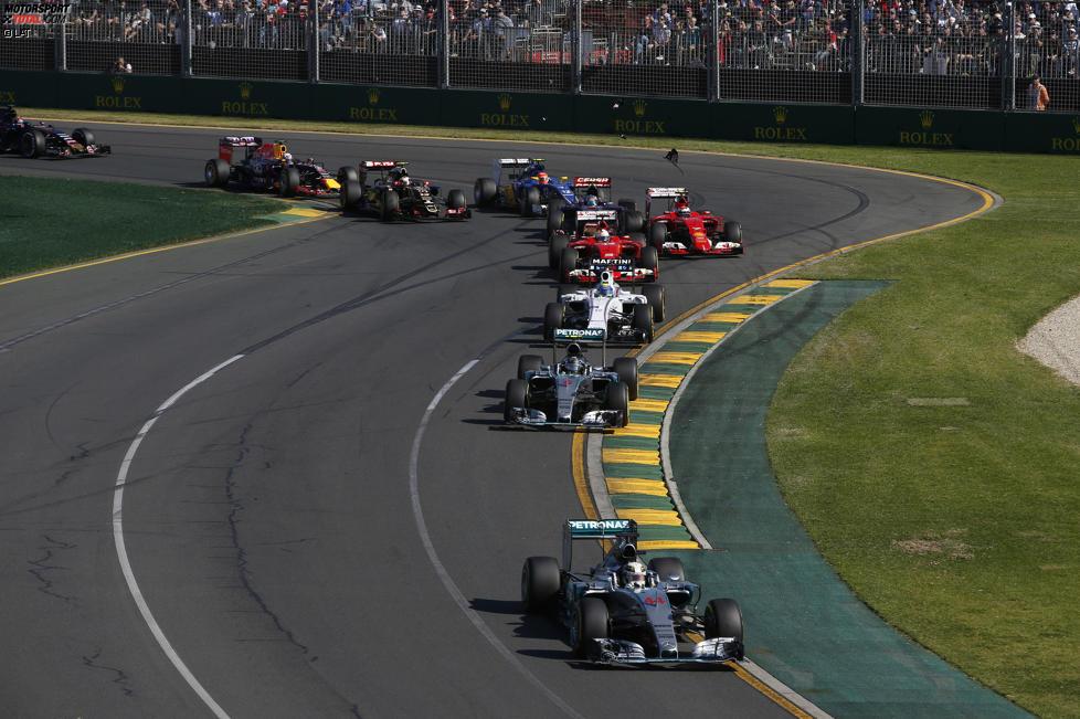 Lewis Hamilton (Mercedes), Nico Rosberg (Mercedes), Felipe Massa (Williams), Sebastian Vettel (Ferrari) und Kimi Räikkönen (Ferrari)