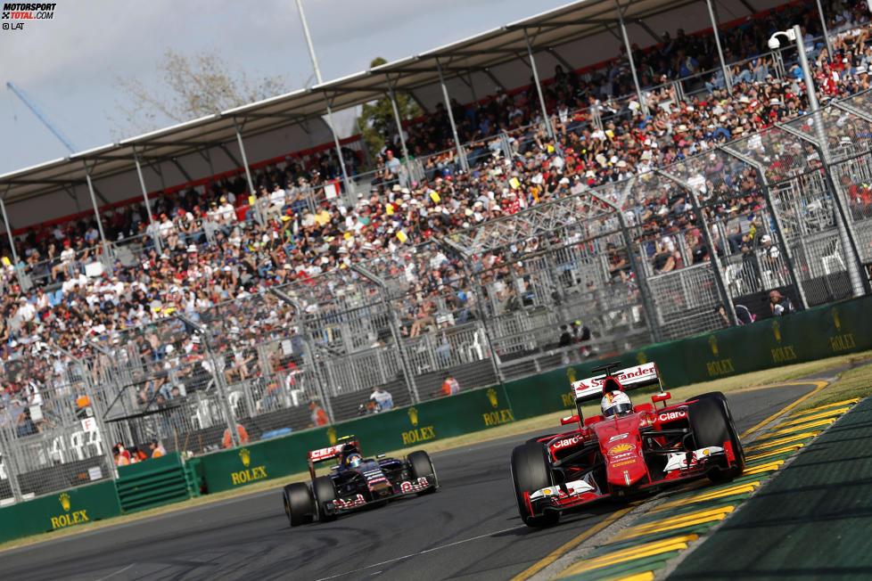 Sebastian Vettel (Ferrari) und Carlos Sainz jun. (Toro Rosso)