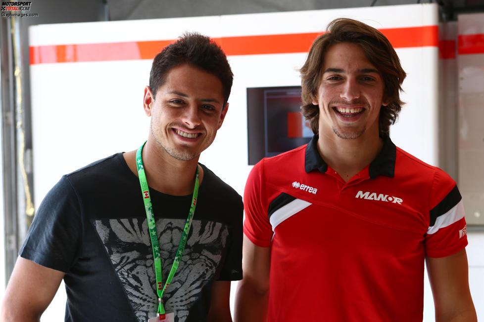 Roberto Merhi (Manor-Marussia) mit Javier Hernandez von Manchester United