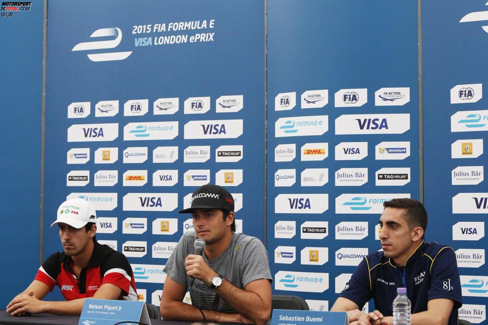 Lucas di Grassi (Abt), Nelson Piquet Jun. (China) und  Sebastien Buemi (e.dams)