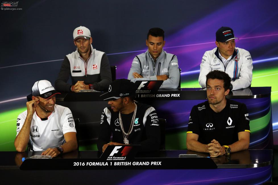 Romain Grosjean (Haas), Pascal Wehrlein (Manor), Valtteri Bottas (Williams), Jenson Button (McLaren), Lewis Hamilton (Mercedes) und Jolyon Palmer (Renault)