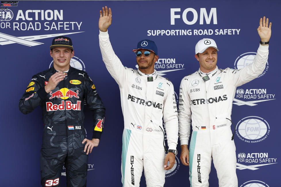 Lewis Hamilton (Mercedes), Nico Rosberg (Mercedes) und Max Verstappen (Red Bull)