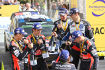Sebastien Ogier (Volkswagen), Julien Ingrassia, Daniel Sordo (Hyundai), Marc Marti, Thierry Neuville (Hyundai) und Nicolas Gilsoul