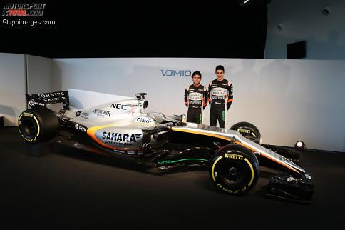 Esteban Ocon und Sergio Perez gehen 2017 in Silber auf die Strecke. Mit dem VJM10 will ihr Arbeitgeber Force India in die Top 3 einbrechen.