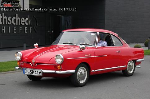 NSU Sport Prinz, gebaut von 1959 bis 1967. Die damals beliebten Talbotspiegel waren nicht serienmäßig.